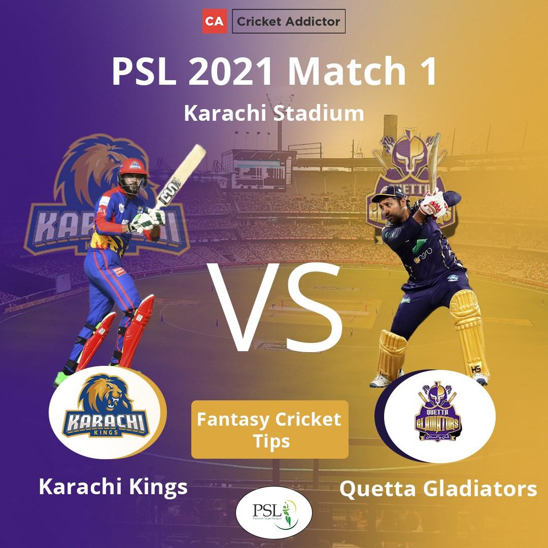 Pakistan Super League Karachi Kings vs Quetta Gladiators Dream11 Prediction Fantasy Cricket Tips Dream11 Team