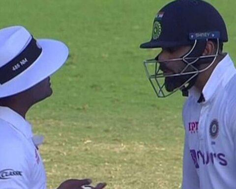 Virat Kohli argues with umpire Nitin Menon during second Test in Chennai (Credits: Screengrab)