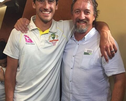 Mitchell Starc with his dad Paul