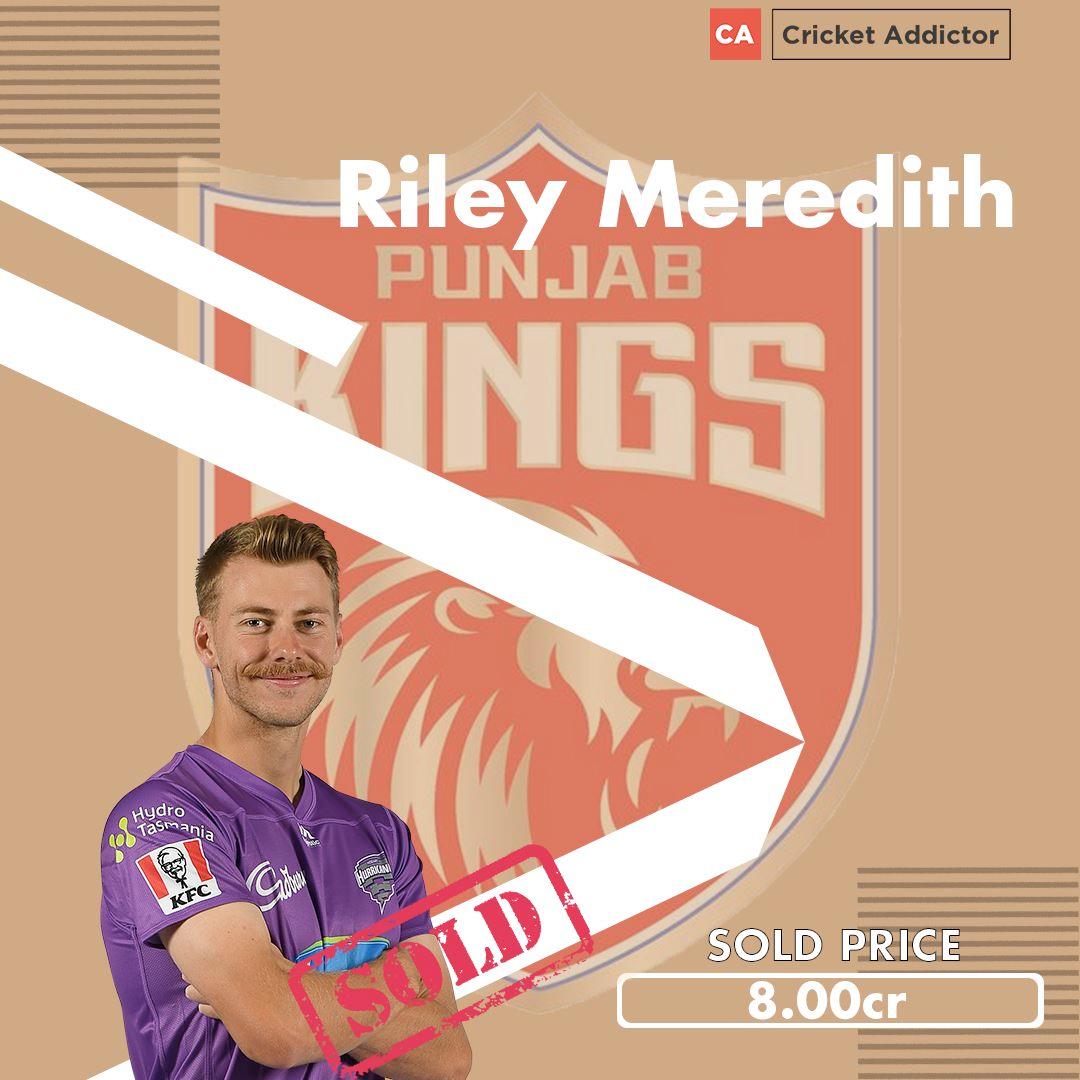 Riley Meredith, Punjab Kings, Kings XI Punjab
