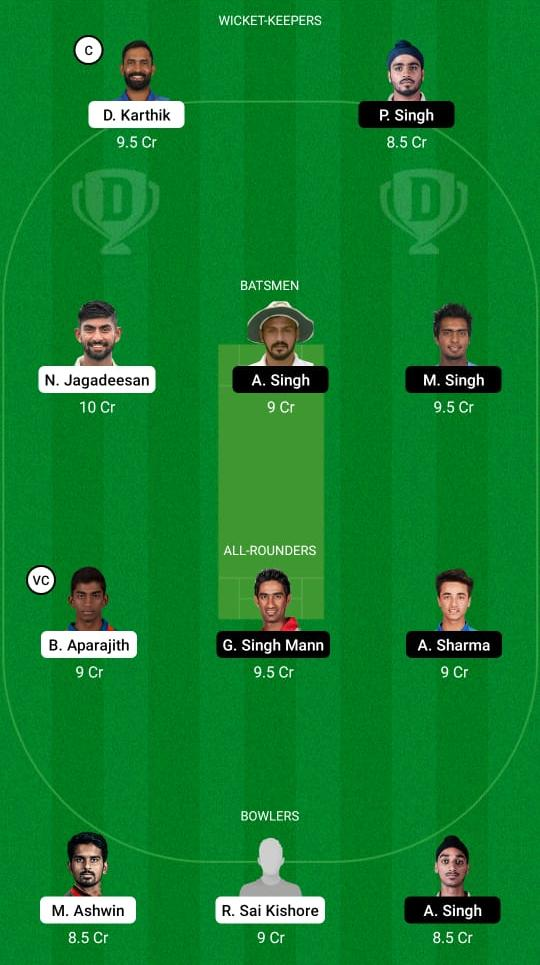 TN vs PUN Dream11 Prediction Fantasy Cricket Tips Dream11 Team Vijay Hazare Trophy