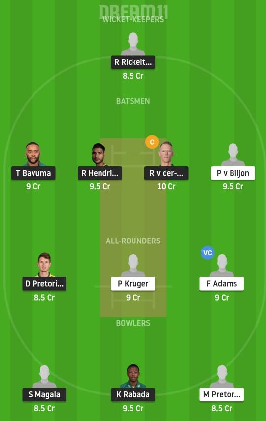 HL vs KTS Dream11 Prediction Fantasy Cricket Tips Dream11 Team South African T20 Challenge