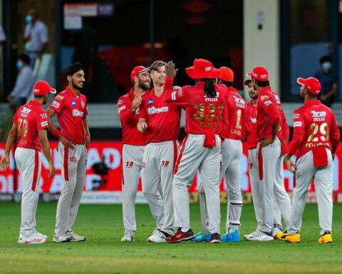 Kings Xi Punjab players during IPL 2020. Credits: BCCI