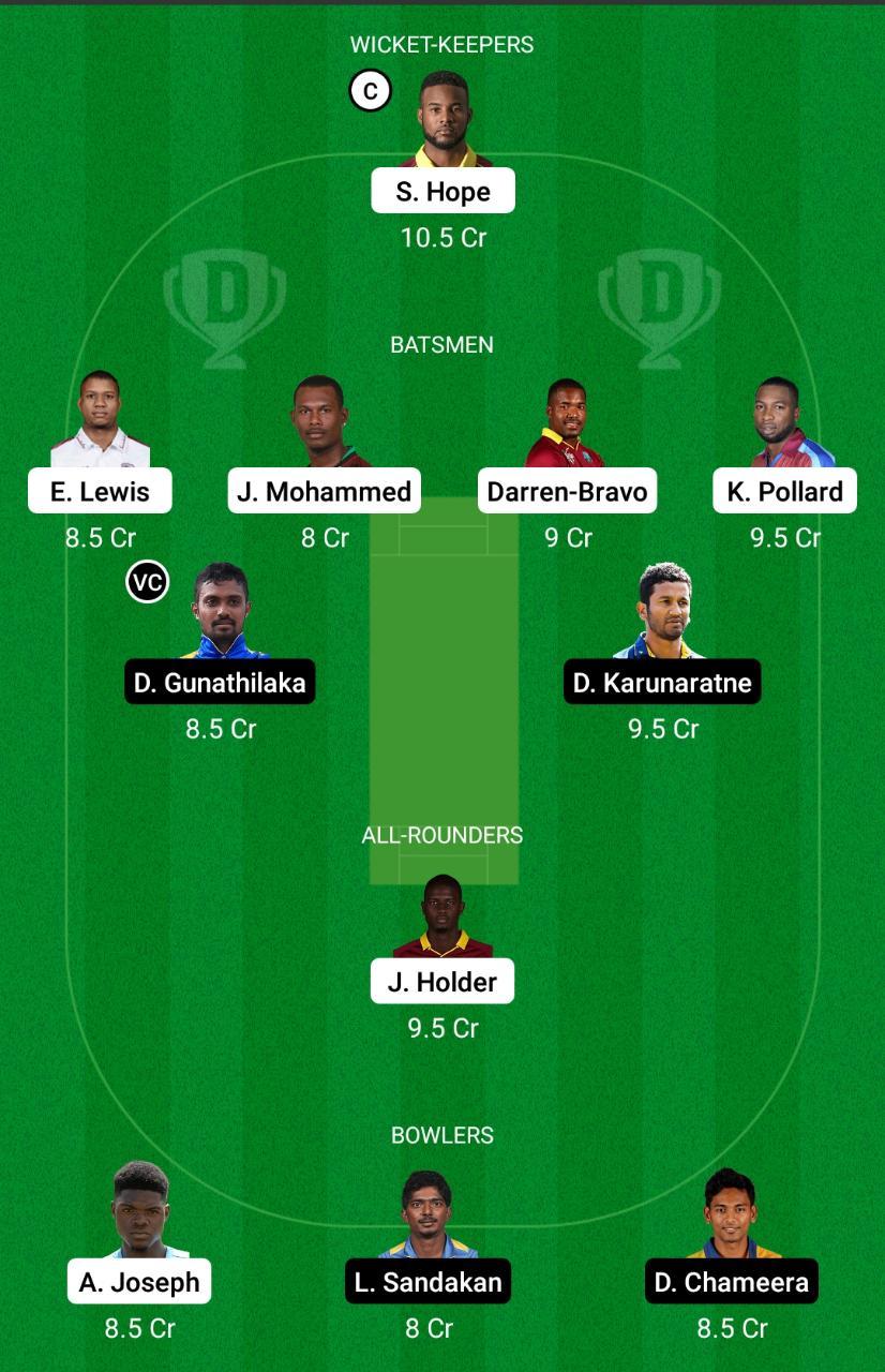 West Indies vs Sri Lanka 2nd ODI Dream11 Prediction Fantasy Cricket Tips Dream11 Team