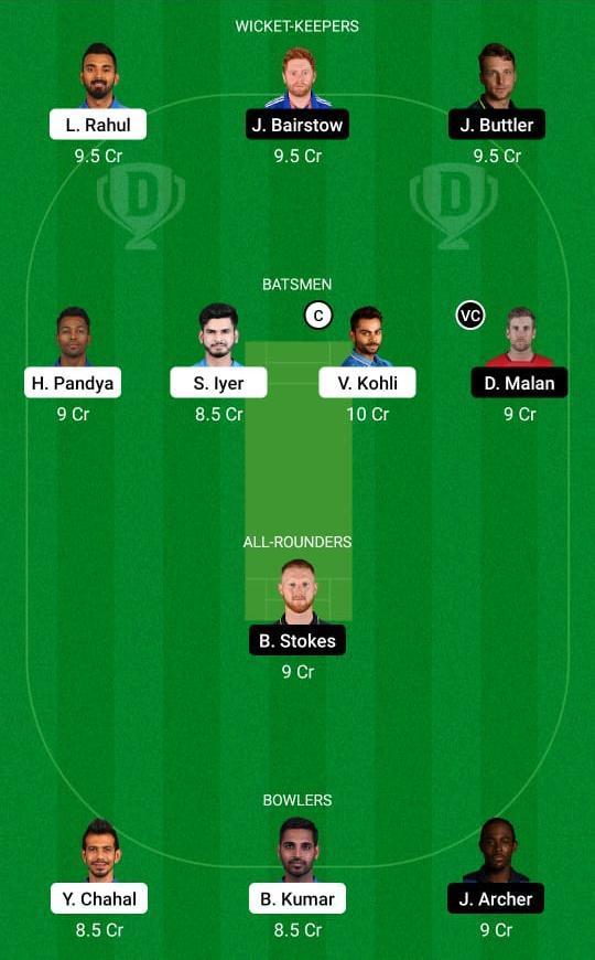 India vs England 2nd T20I Dream11 Prediction Fantasy Cricket Tips Dream11 Team