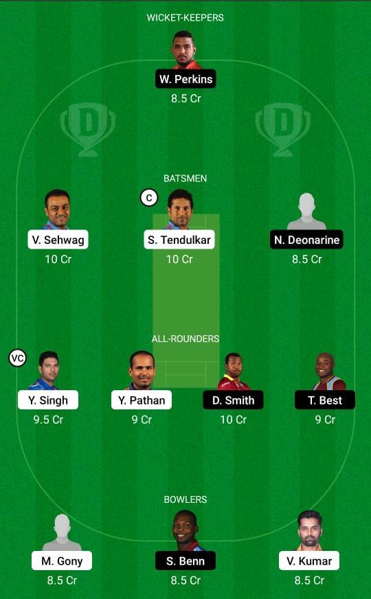 India Legends vs West Indies Legends Dream11 Prediction Fantasy Cricket Tips Dream11 Team Road Safety T20 World Series