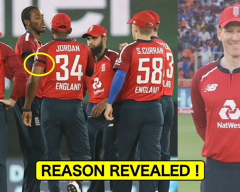 England players wearing black armbands in the 1st T20I against India in Ahmedabad