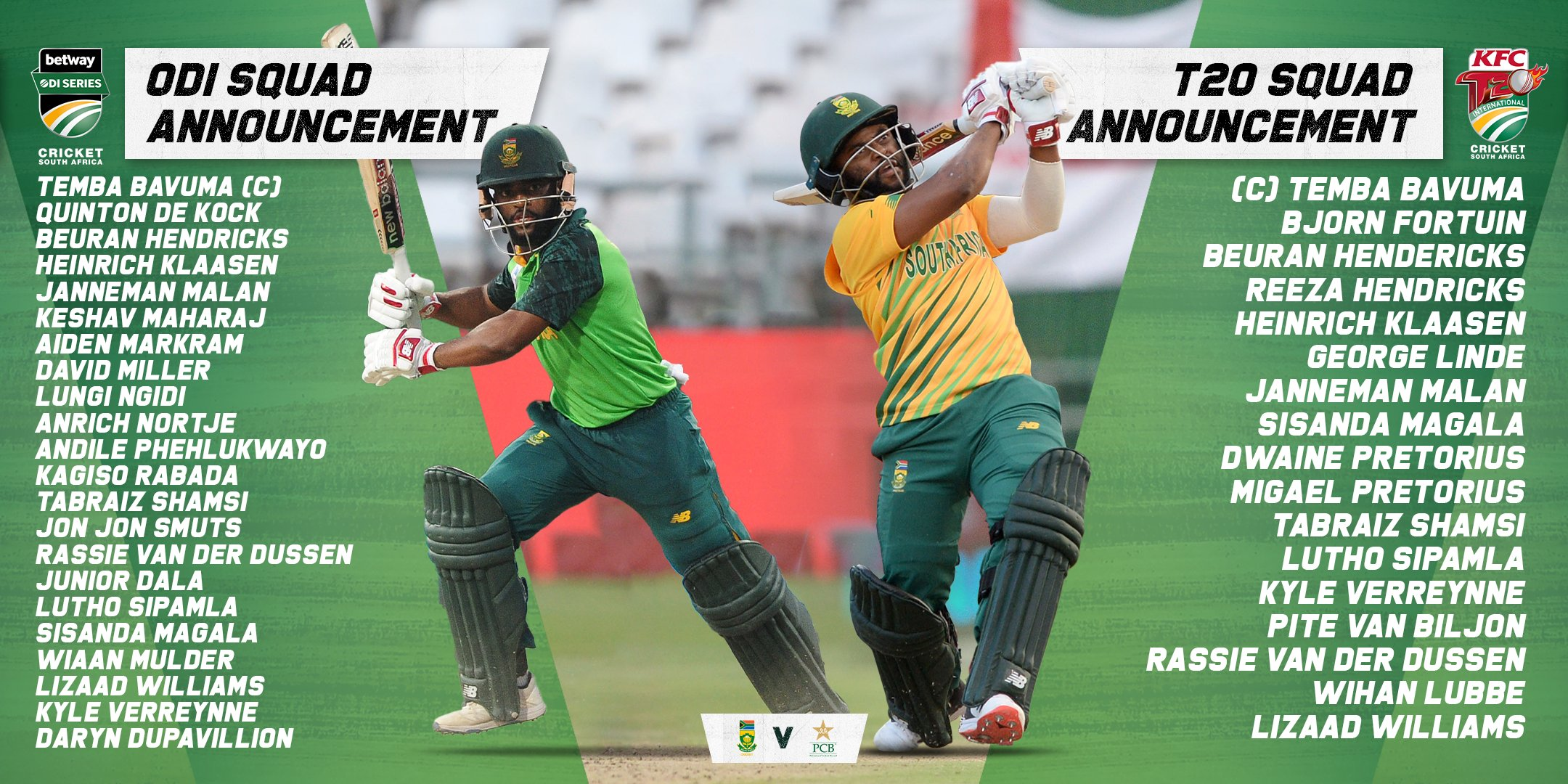 South Africa Vs Pakistan 2021: CSA Announce ODI And T20I Squads; No IPL-Bound Players To Feature In The T20I Series