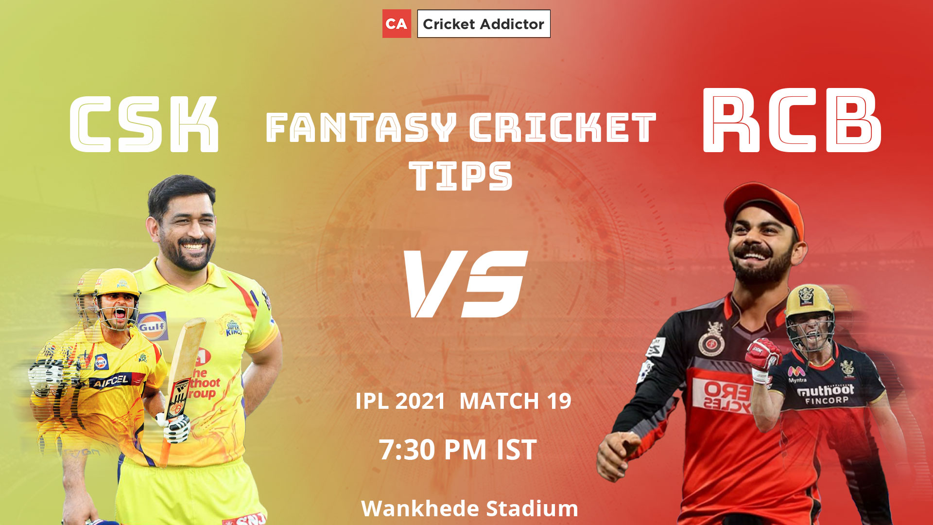 Chennai Super Kings (CSK) vs Royal Challengers Bangalore (RCB) Dream11 Prediction, Fantasy Cricket Tips, Playing XI, Fantasy Team, Pitch Report, Dream11 Team, Injury Update of VIVO IPL 2021.