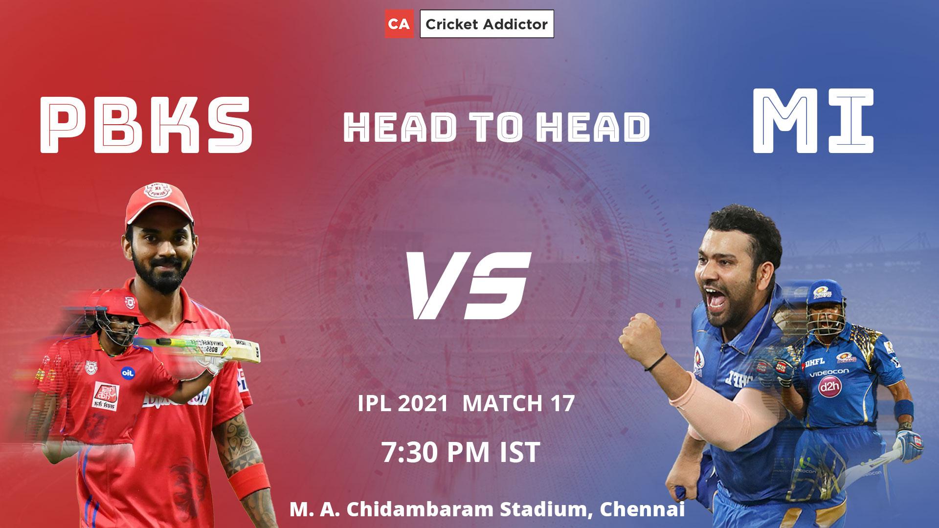 IPL 2021, Punjab Kings, Mumbai Indians, PBKS vs MI, Head-to-Head