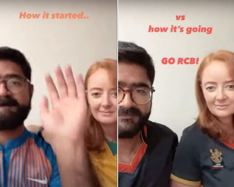 The Indian- Australian couple Cheering for RCB (Photo- Twitter)
