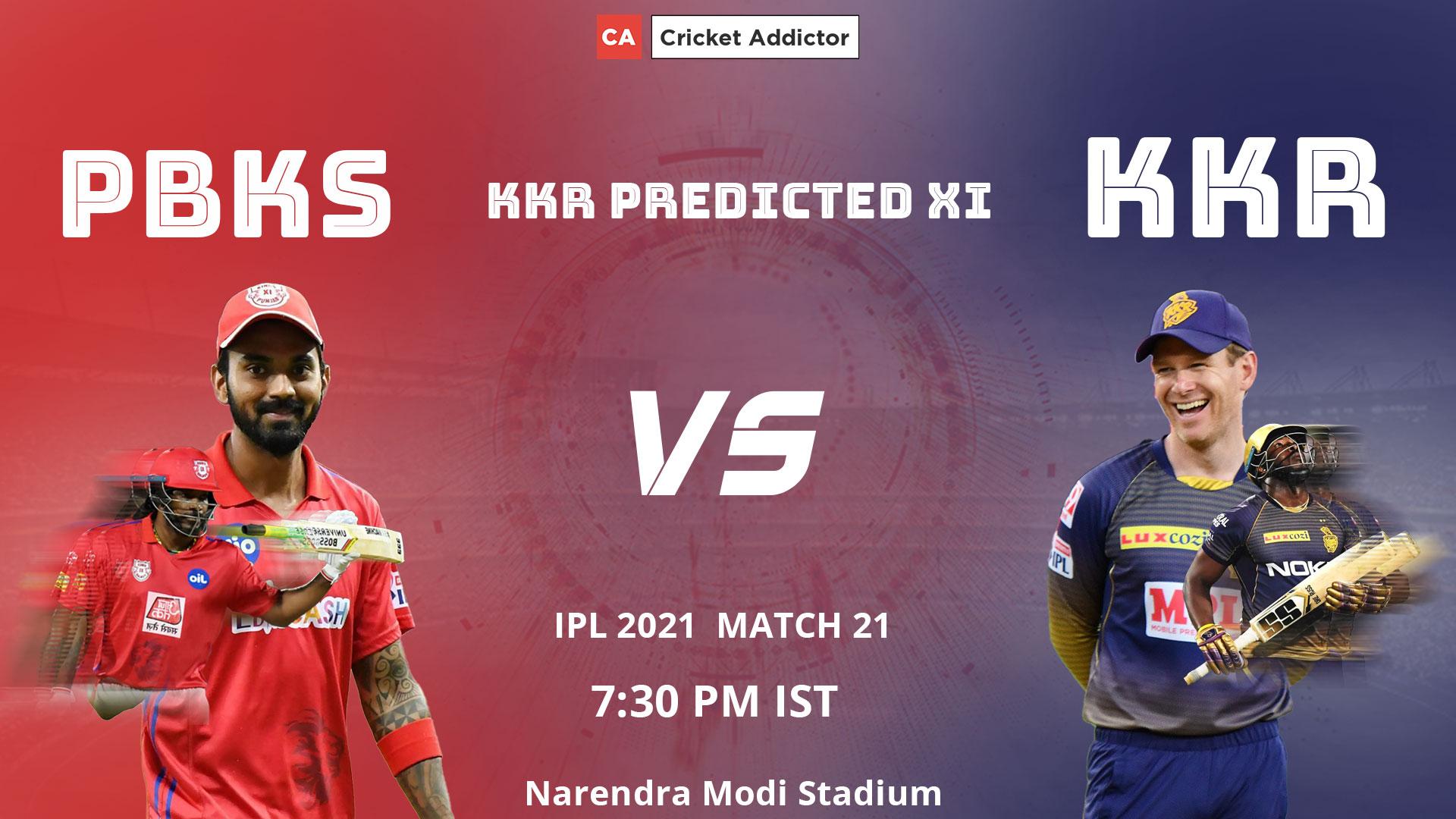 IPL 2021, Kolkata Knight Riders, KKR, PBKS vs KKR, predicted playing XI, playing XI
