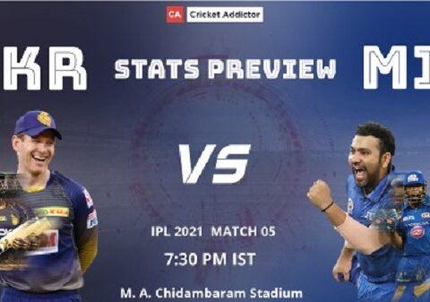 IPL 2021, Kolkata Knight Riders, Mumbai Indians, KKR vs MI, Stats