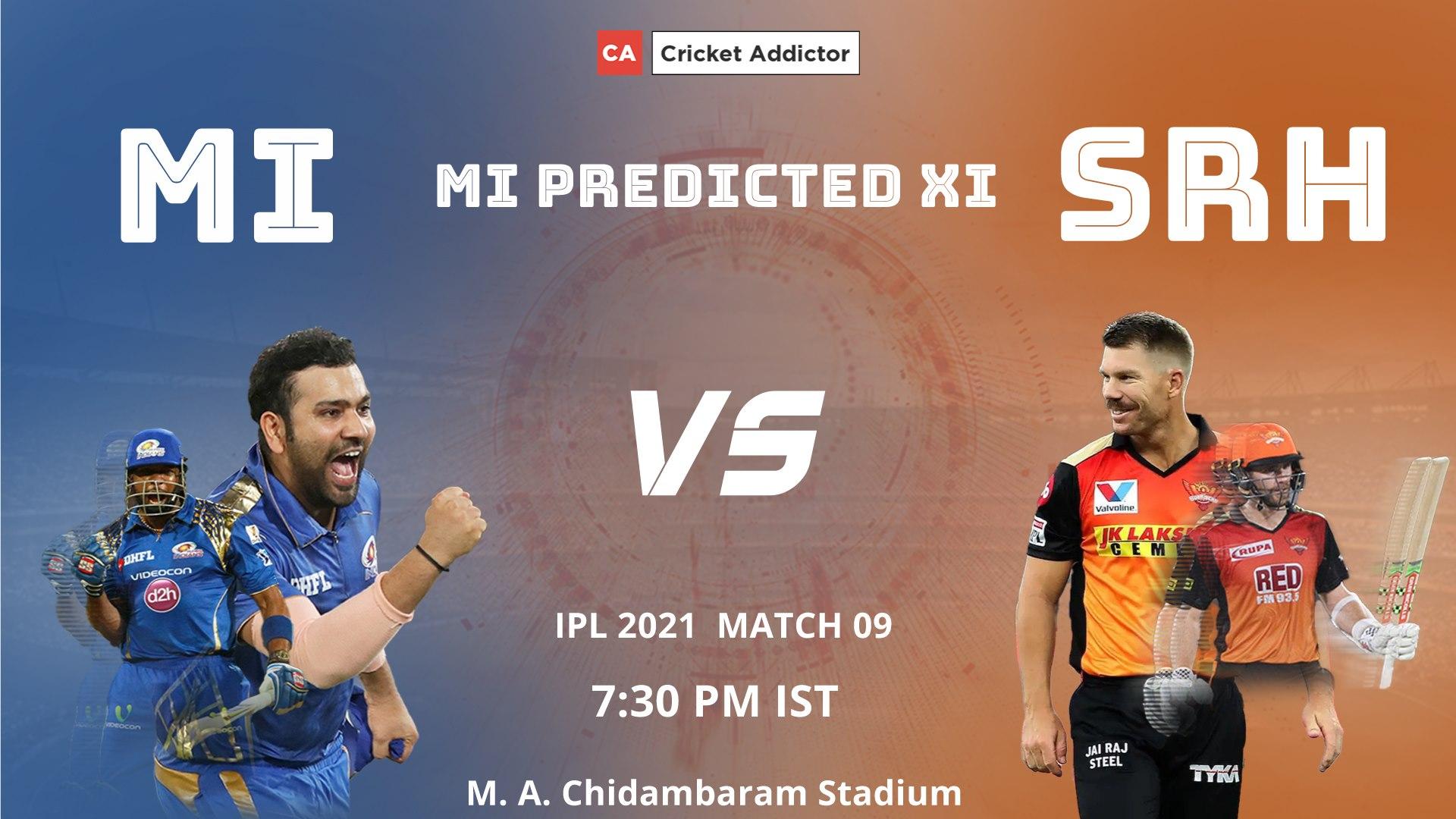 Mumbai Indians, IPL 2021, MI, predicted playing XI, playing XI, MI vs SRH