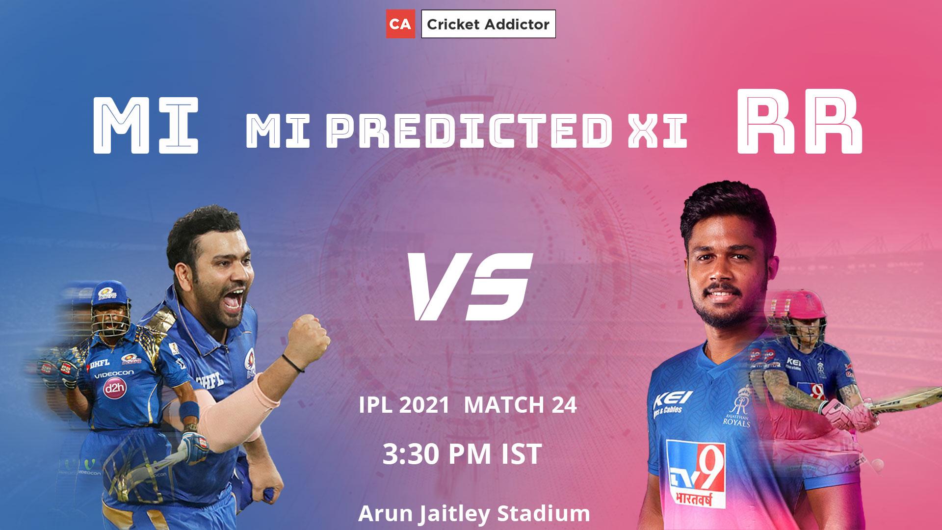 IPL 2021, Mumbai Indians, MI, MI vs RR, predicted playing XI, playing XI