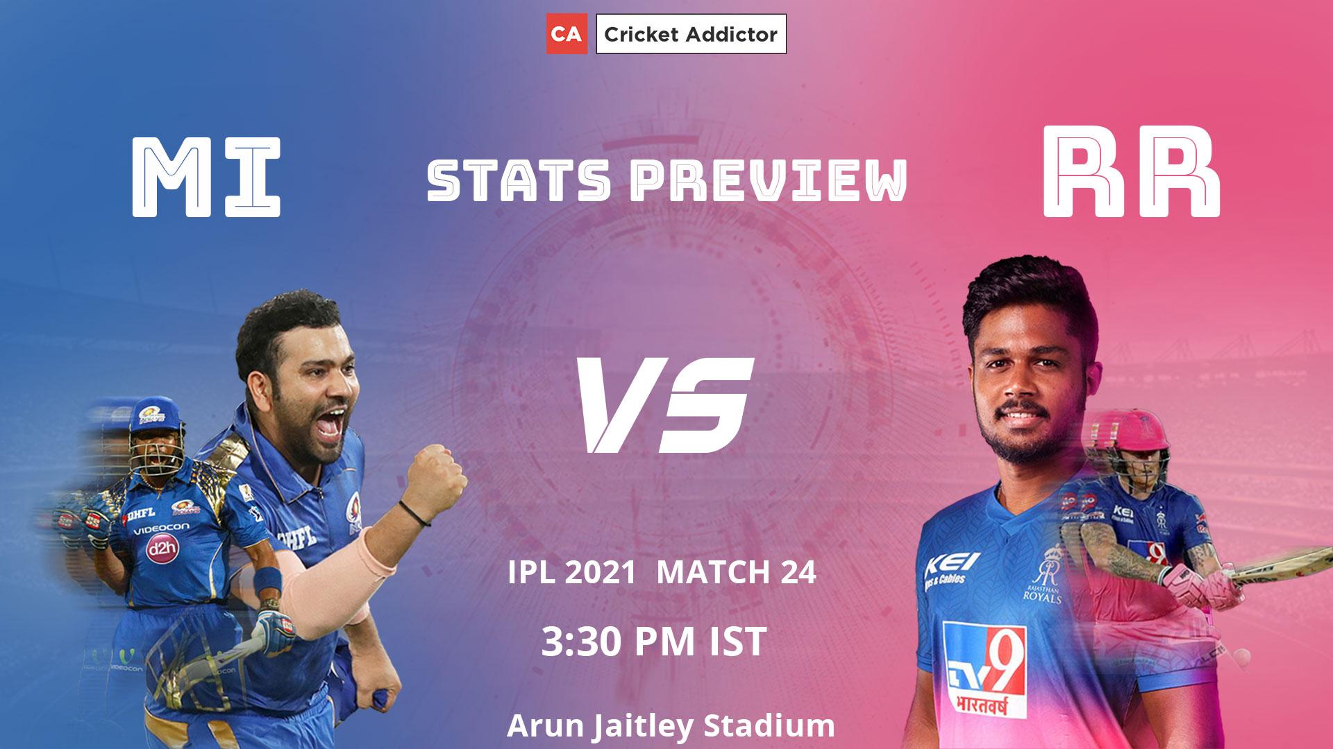IPL 2021, Mumbai Indians, Rajasthan Royals, MI, RR, MI vs RR, Stats