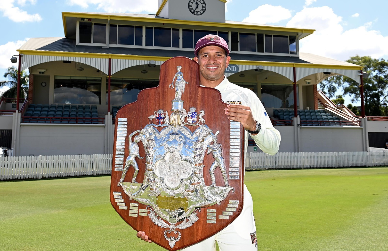 Usman Khwaja With Sheffield Shield 2020-21 Trophy