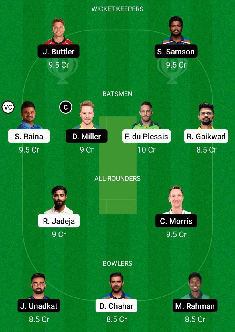 CSK vs RR Dream11 Prediction Fantasy Cricket Tips Dream11 Team VIVO IPL 2021