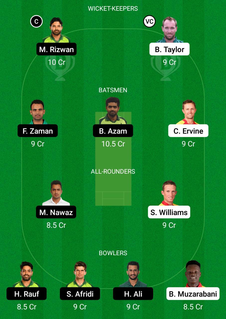 Zimbabwe vs Pakistan 1st T20I Dream11 Prediction Fantasy Cricket Tips Dream11 Team