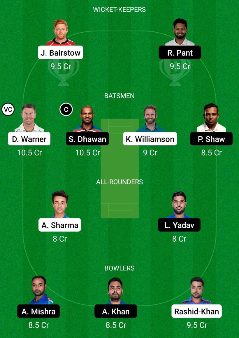 SRH vs DC Dream11 Prediction Fantasy Cricket Tips Dream11 Team VIVO IPL 2021
