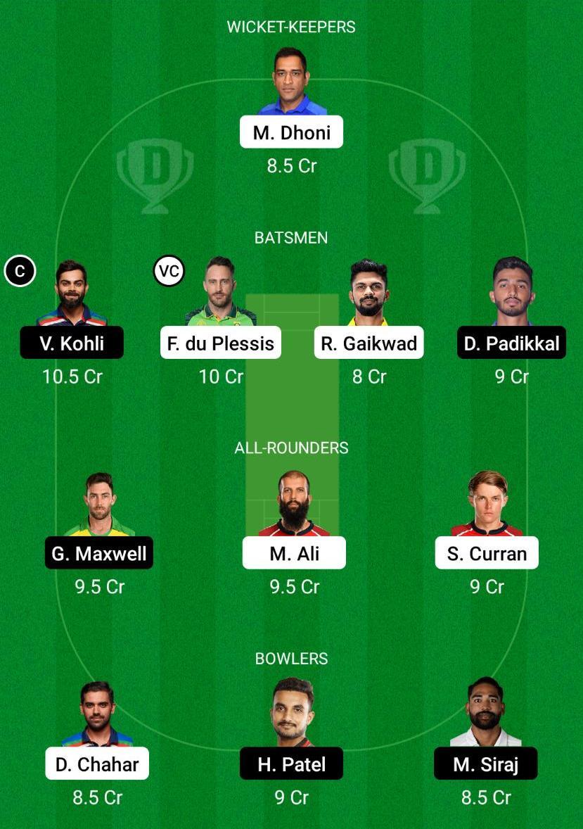 CSK vs RCB Dream11 Prediction Fantasy Cricket Tips Dream11 Team VIVO IPL 2021