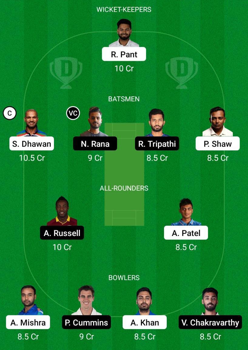 DC vs KKR Dream11 Prediction Fantasy Cricket Tips Dream11 Team VIVO IPL 2021