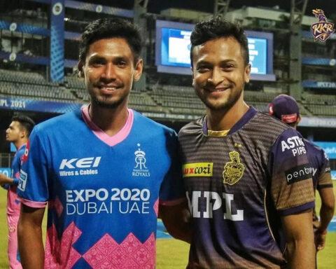 Shakib Al Hasan, Mustafizur Rahman during IPL 2021