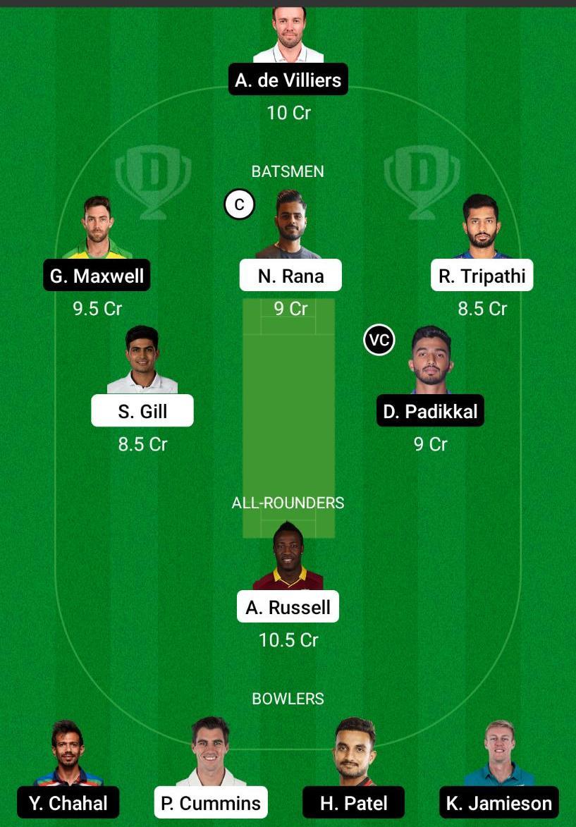 KKR vs RCB Dream11 Prediction Fantasy Cricket Tips Dream11 Team VIVO IPL 2021