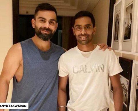 Abhimanyu Easwaran and VIrat Kohli