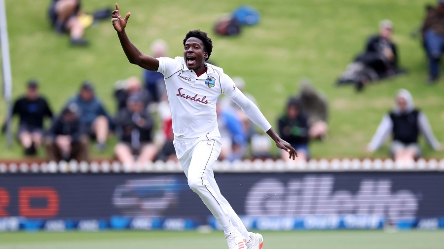 West Indies Chemar Holder celebrates New Zealand's Tom Latham being caught during the 2nd International cricket Test match between New Zealand and the West Indies at the Basin Reserve in Wellington on December 11, 2020. (Photo by Marty MELVILLE / AFP) (Photo by MARTY MELVILLE/AFP via Getty Images)