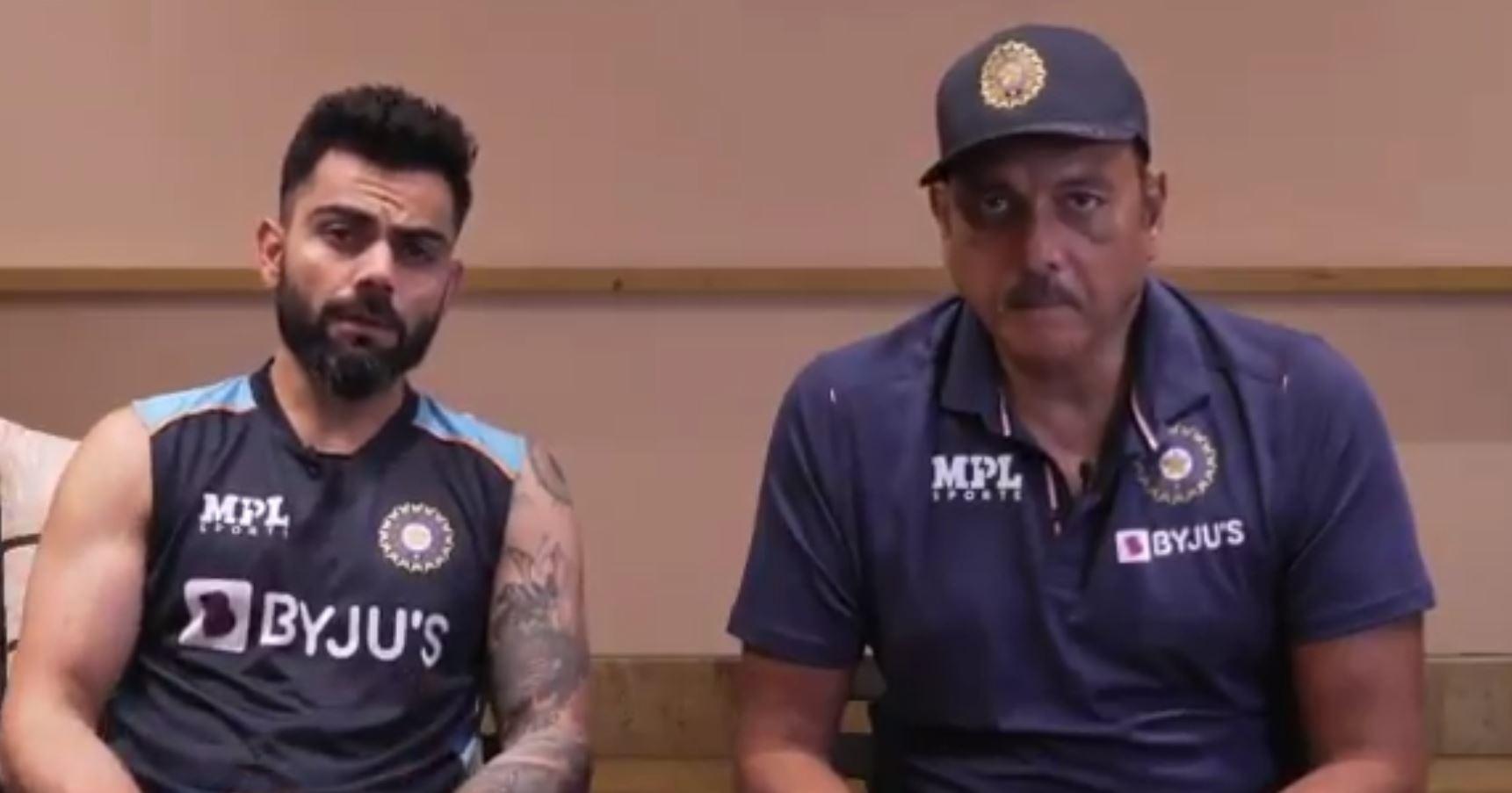 India captain Virat Kohli and head coach Ravi Shastri (Photo-Screengrab)