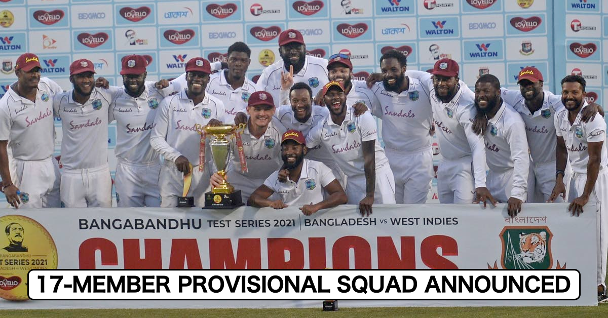 Cricket West Indies Names 17-Man Provisional West Indies Squad For South Africa Test Series