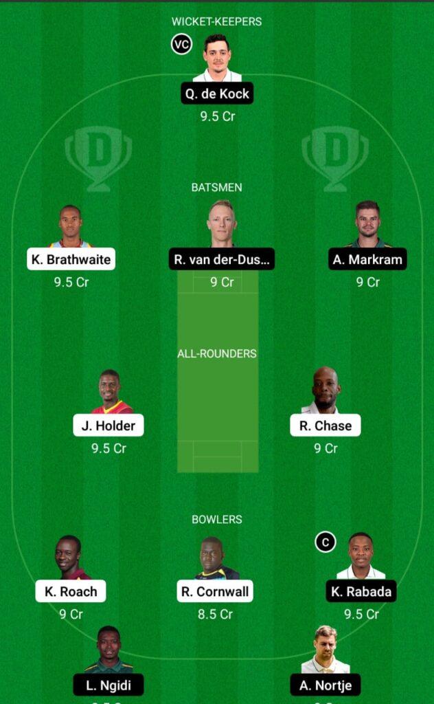 West Indies vs South Africa Dream11 Prediction Fantasy Cricket Tips Dream11 Team