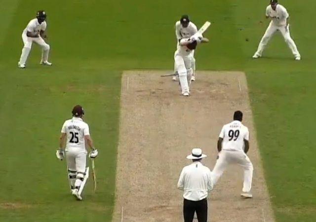 Surrey's Ravichandran Ashwin clean balls Tom Lammonby from Somerset (Photo-Twitter)