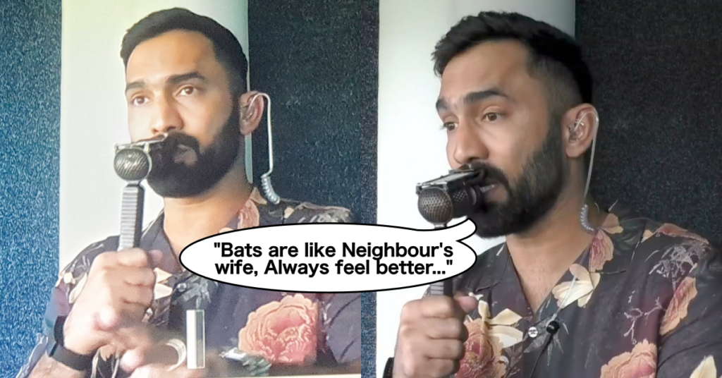"""Watch: Dinesh Karthik says """"Bats are like the neighbor's wife, they always feel better"""" Commenting in the 3rd ODI between England and Sri Lanka"""