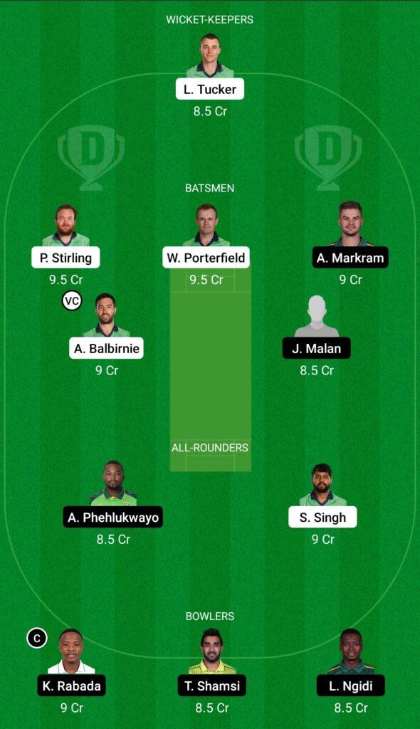 Ireland vs South Africa Dream11 Prediction Fantasy Cricket Tips Dream11 Team