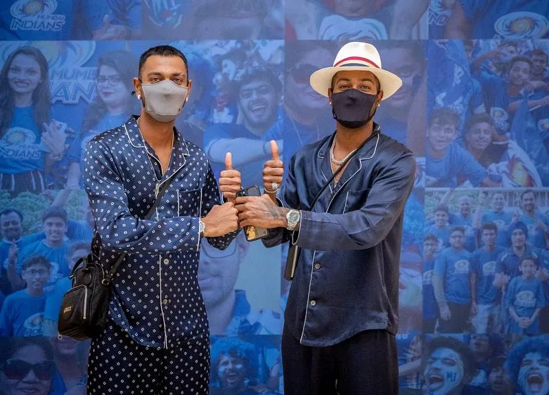 Krunal and Hardik Pandya.  Photo- MI Twitter