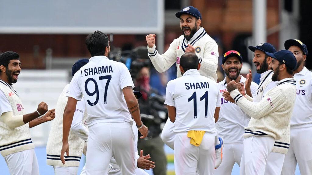 Virat Kohli celebrates the fall of an English wicket.  Photo- Getty