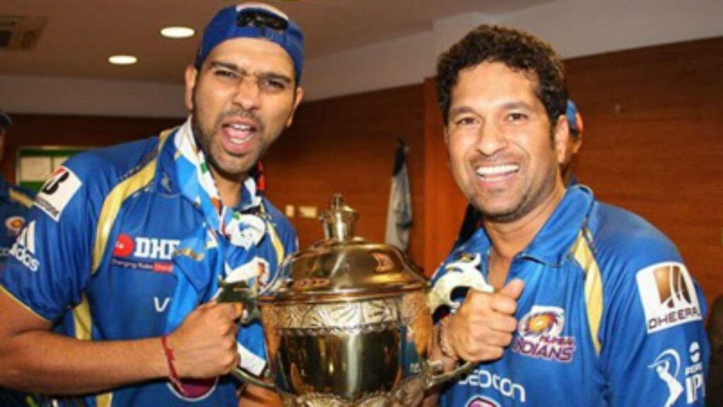 SAchin Tendulkar and Rohit Sharma. Photo-Mi Twitter