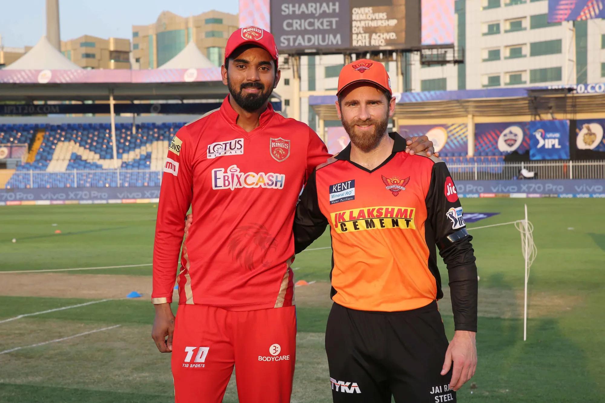 KL Rahul and Kane Williamson for PBKS v SRH in Sharjah.Photo- BCCI-IPL