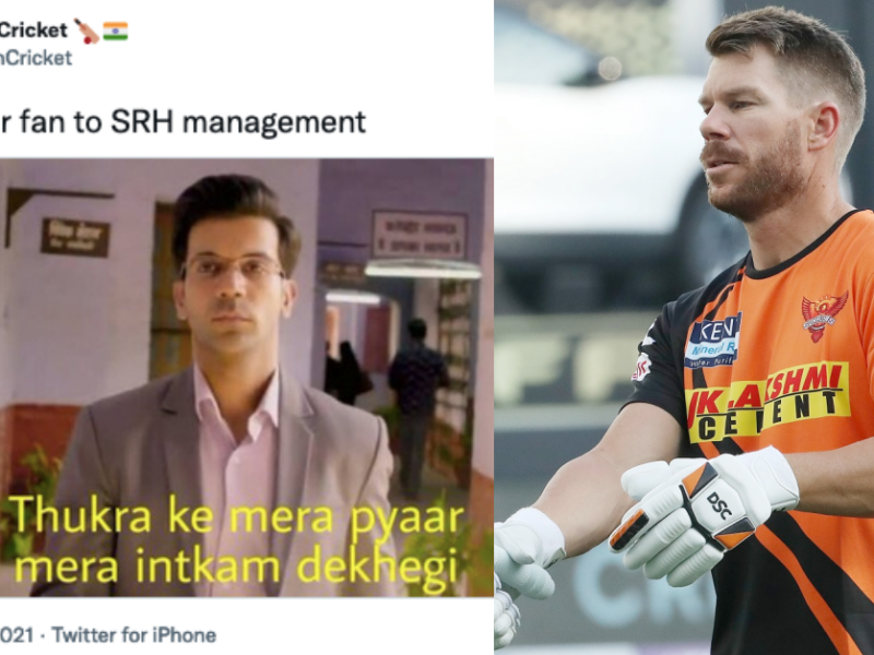 """IPL 2021: """"Confirmed David Warner Going To Mega Auction"""" Twitter Reacts As David Warner Gets Dropped From SRH Playing XI"""