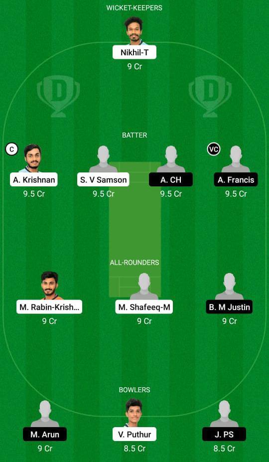 JRO vs ENC Dream11 Prediction Fantasy Cricket Tips Dream11 Team Kerala Club Championship