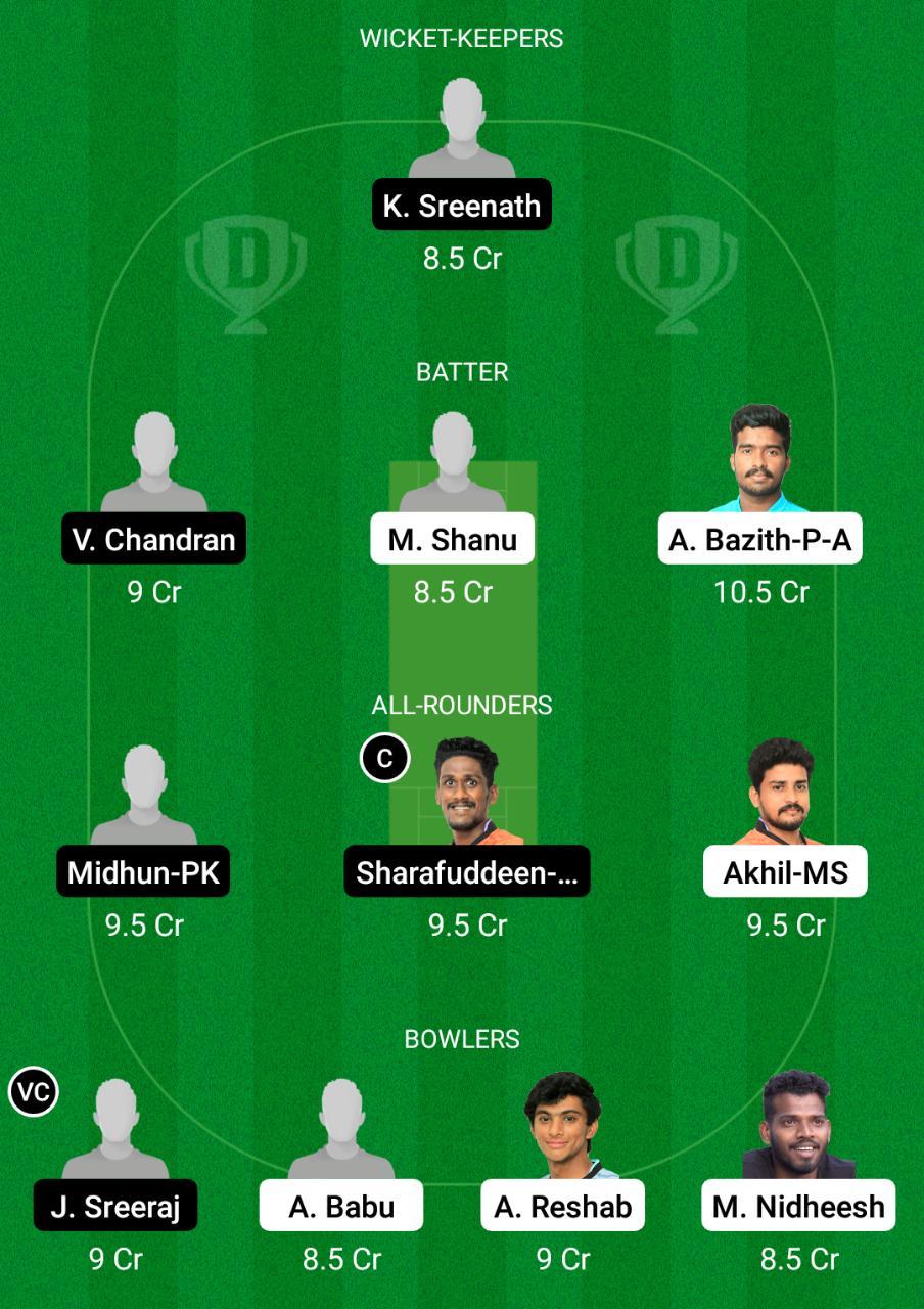 TRC vs PRC Dream11 Prediction Fantasy Cricket Tips Dream11 Team Kerala Club Championship