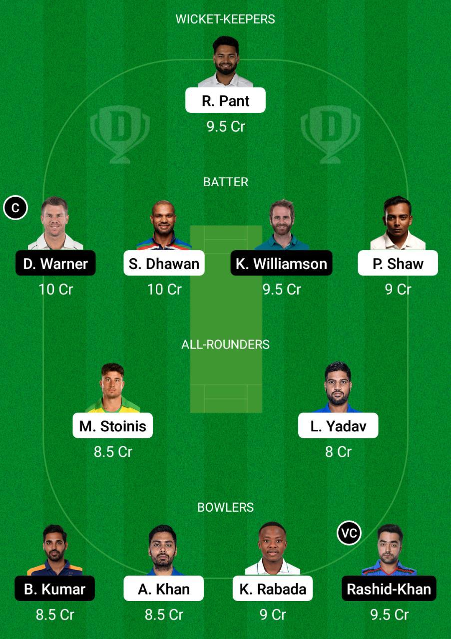DC vs SRH Dream11 Prediction Fantasy Cricket Tips Dream11 Team Vivo IPL 2021