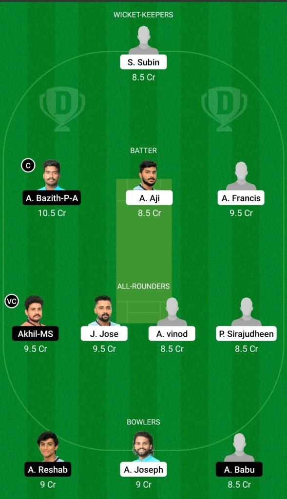 ENC vs TRC Dream11 Prediction Fantasy Cricket Tips Dream11 Team Kerala Club Championship