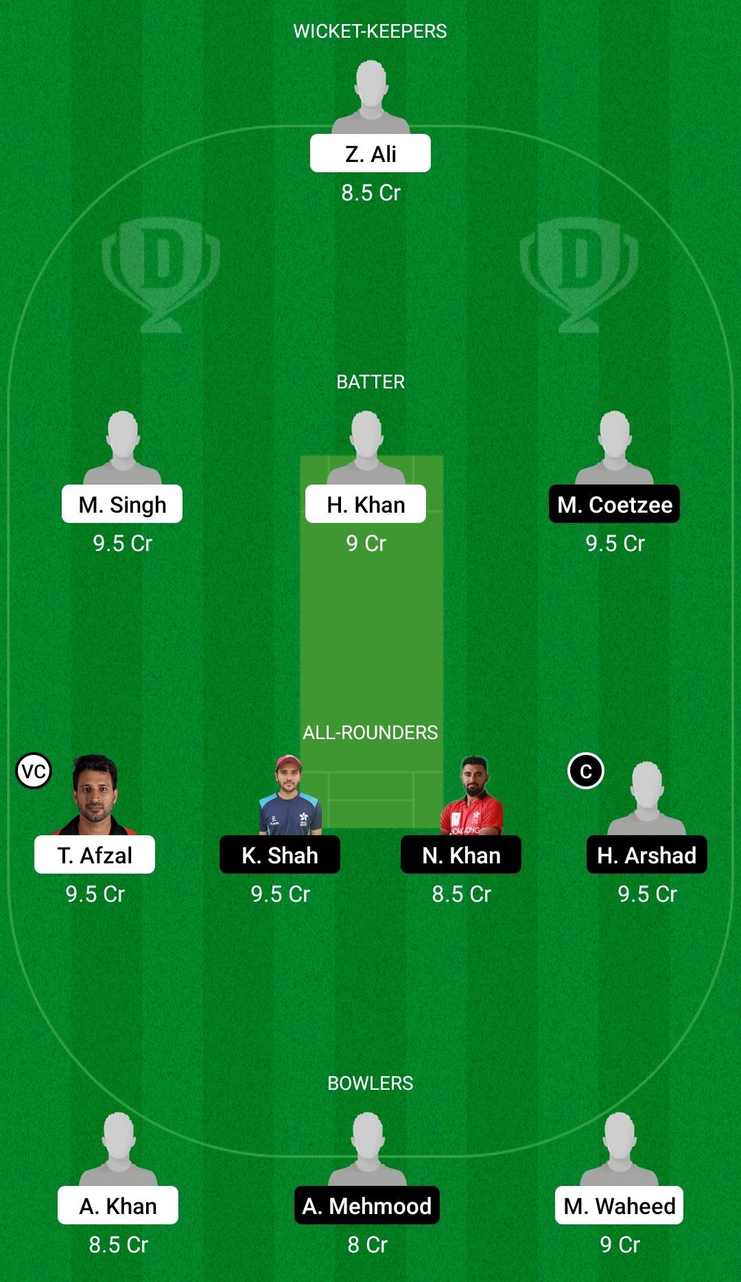 PAHK vs HKCC Dream11 Prediction Fantasy Cricket Tips Dream11 Team Hong Kong T20