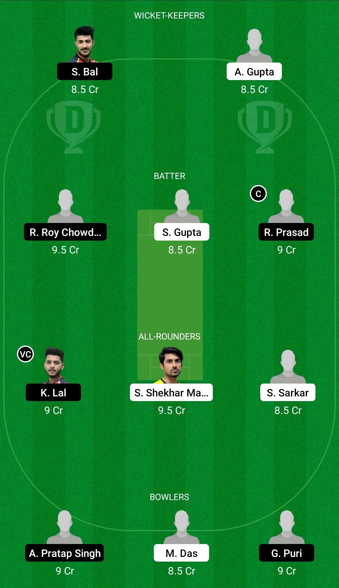 KW vs KH Dream11 Prediction Fantasy Cricket Tips Dream11 Team BYJU's Bengal T20 Challenge