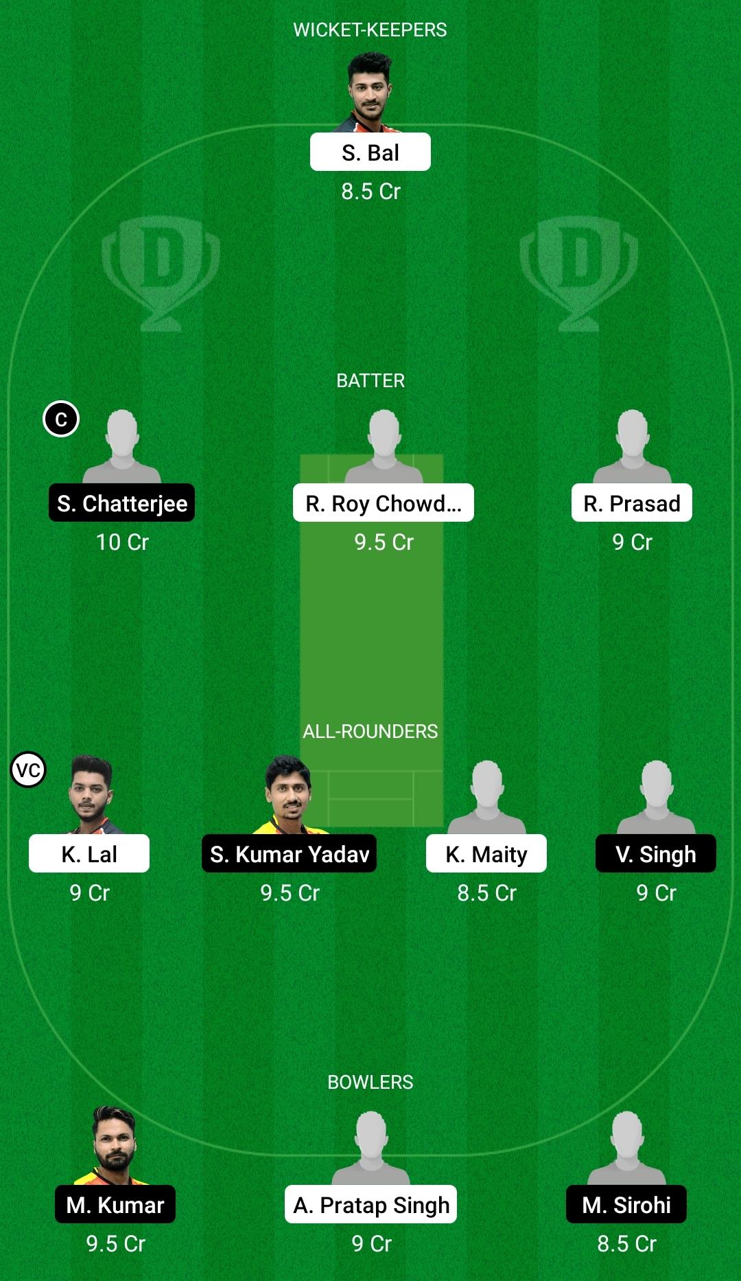 KH vs BB Dream11 Prediction Fantasy Cricket Tips Dream11 Team BYJU's Bengal T20 Challenge