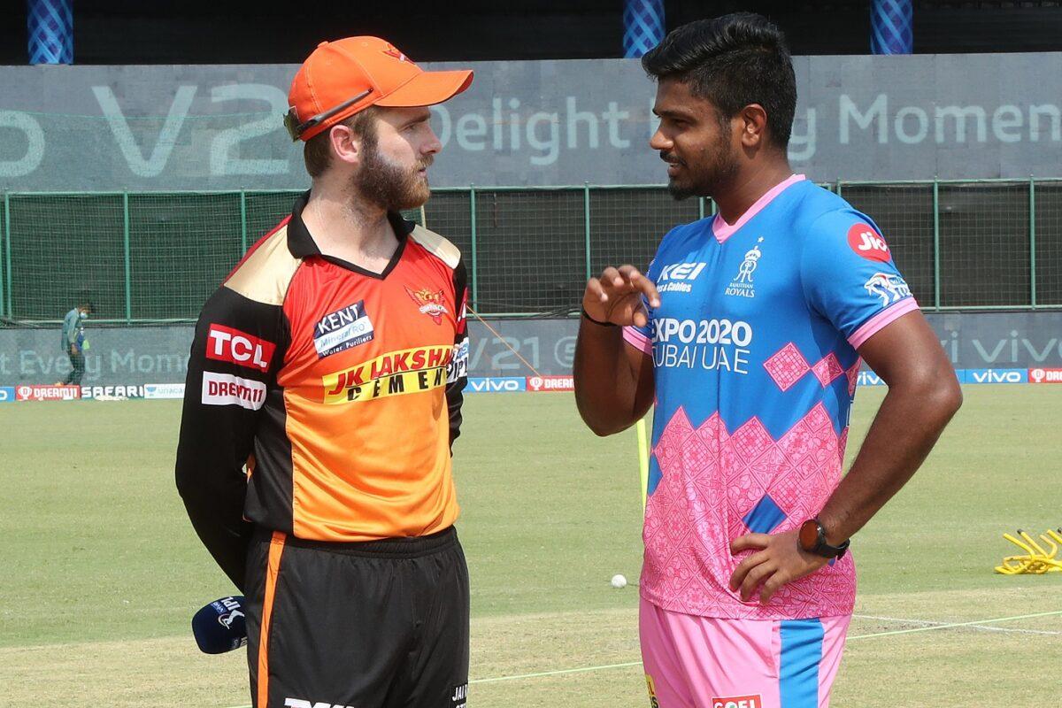 Kane Williamson of Sunrisers Hyderabad and Sanju Samson Captain of Rajasthan Royals