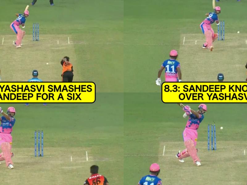 IPL 2021: Watch - Sandeep Sharma Knocks Over Yashasvi Jaiswal After Being Hit For A Six